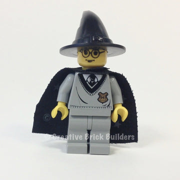 Harry Potter, Hogwarts Torso, Light Gray Legs, Black Wizard Hat, Black Cape with Stars