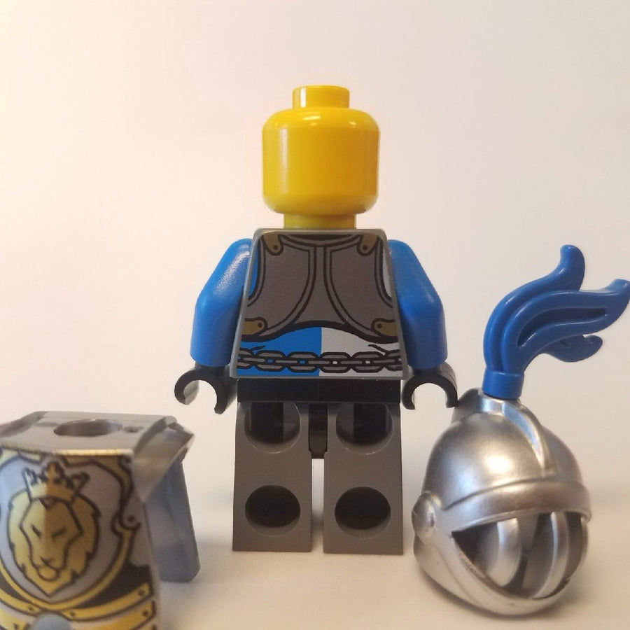 LEGO Minifigure-King's Knight Armor with Lion Head with Crown, Helmet with Fixed Grille, Blue Plume-Castle-Creative Brick Builders