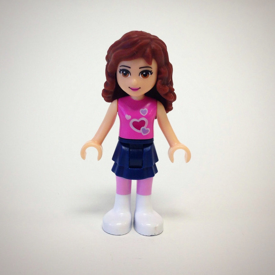 LEGO Minifigure-Olivia, Dark Blue Layered Skirt, Dark Pink Top-Friends-FRND010-Creative Brick Builders