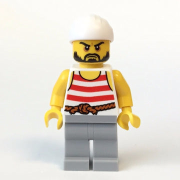 LEGO Minifigure-Pirate 2 - Red And White Stripes, Light Bluish Gray Legs, Beard-Pirates / Pirates III-PI169-Creative Brick Builders