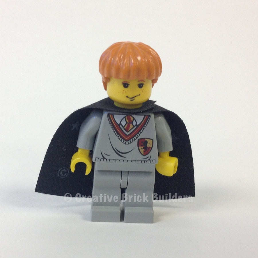 LEGO Minifigure-Ron Weasley, Gryffindor Shield Torso, Black Cape with Stars-Harry Potter / Sorcerer's Stone-HP007-Creative Brick Builders
