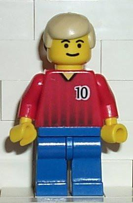 LEGO Minifigure-Soccer Player Red/Blue Team with shirt #10-Sports / Soccer-SOC067-Creative Brick Builders