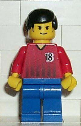 LEGO Minifigure-Soccer Player Red/Blue Team with shirt #18-Sports / Soccer-SOC070-Creative Brick Builders