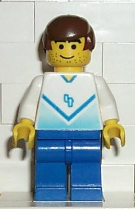 LEGO Minifigure-Soccer Player White & Blue Team with shirt #4-Sports / Soccer-SOC082-Creative Brick Builders