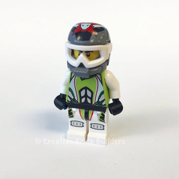 LEGO Minifigure-Team X-treme Daredevil 1 (REX-treme) - Dirtbike Helmet-World Racers-WR001-Creative Brick Builders