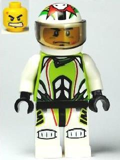 LEGO Minifigure-Team X-treme Daredevil 1 (REX-treme) - Standard Helmet-World Racers-WR022-Creative Brick Builders