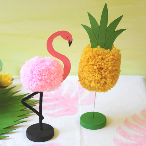 Pompom Pineapple and Flamingo