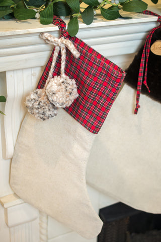 Plaid Stocking Topper with Pompoms