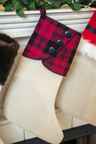 Plaid Stocking Topper with Buttons