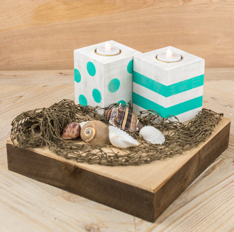 Polka Dot and Striped Wood Candle Holder