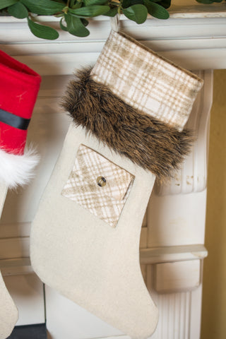 Plaid Stocking Topper with Pocket and Fur