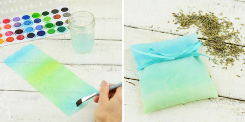 No Sew Lavender Sachet (watercolor your fabric)