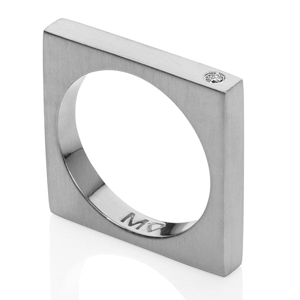 Thin Square ring silver w/diamonds