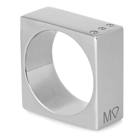 Square ring silver w/diamonds