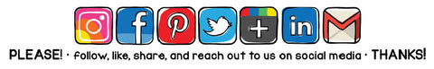 Social media icons — please follow, like, share, and reach out to us on social media.