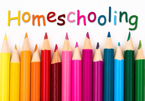 Colored pencils with the word 'homeschooling.'
