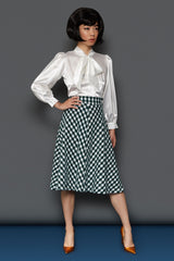 The A-Line Skirt - Green Gingham Wool
