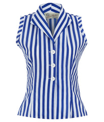 The Sleeveless Shirt - Blue and White Stripe