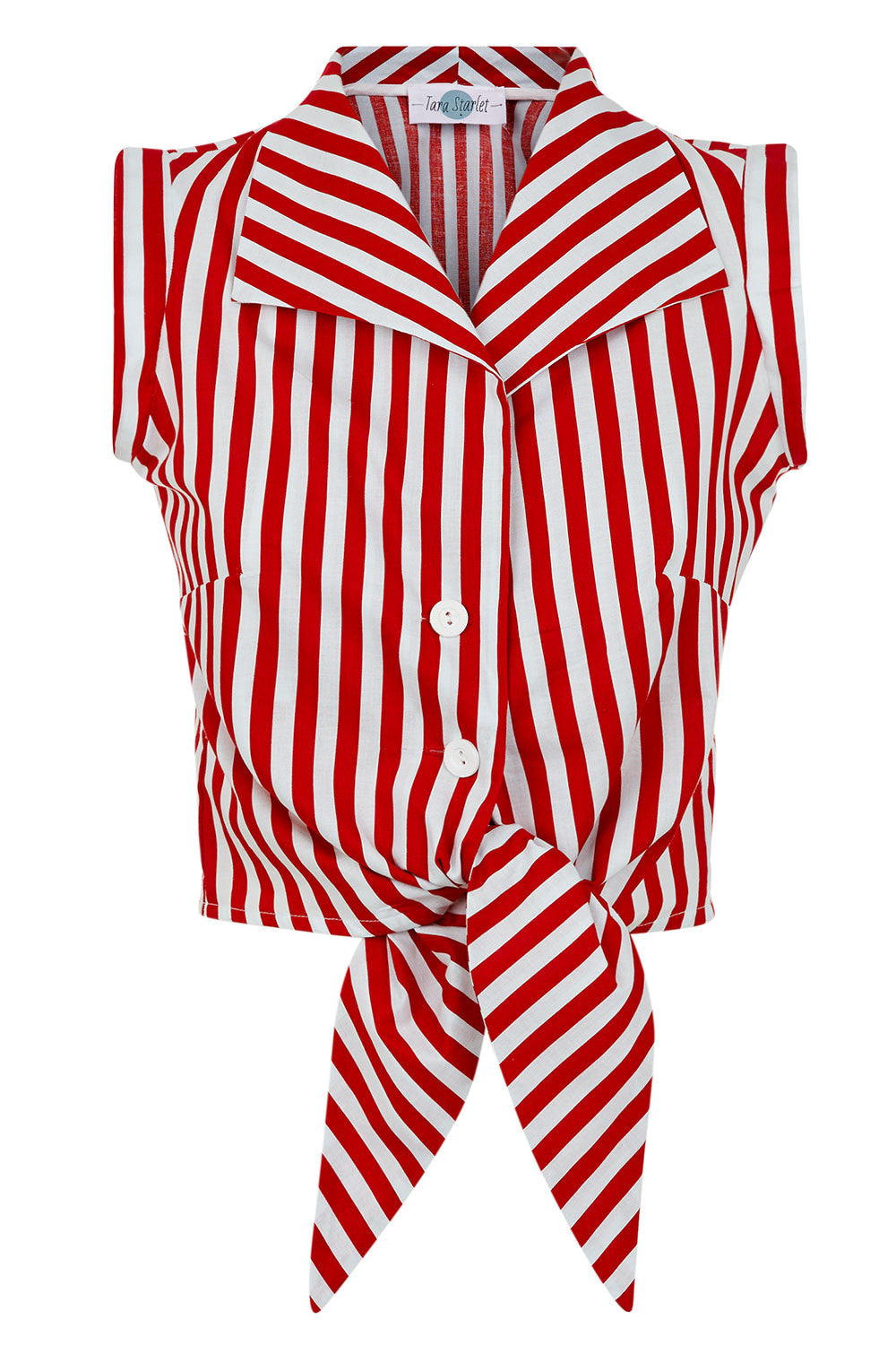 The Tie-front Shirt - Red with White Stripe