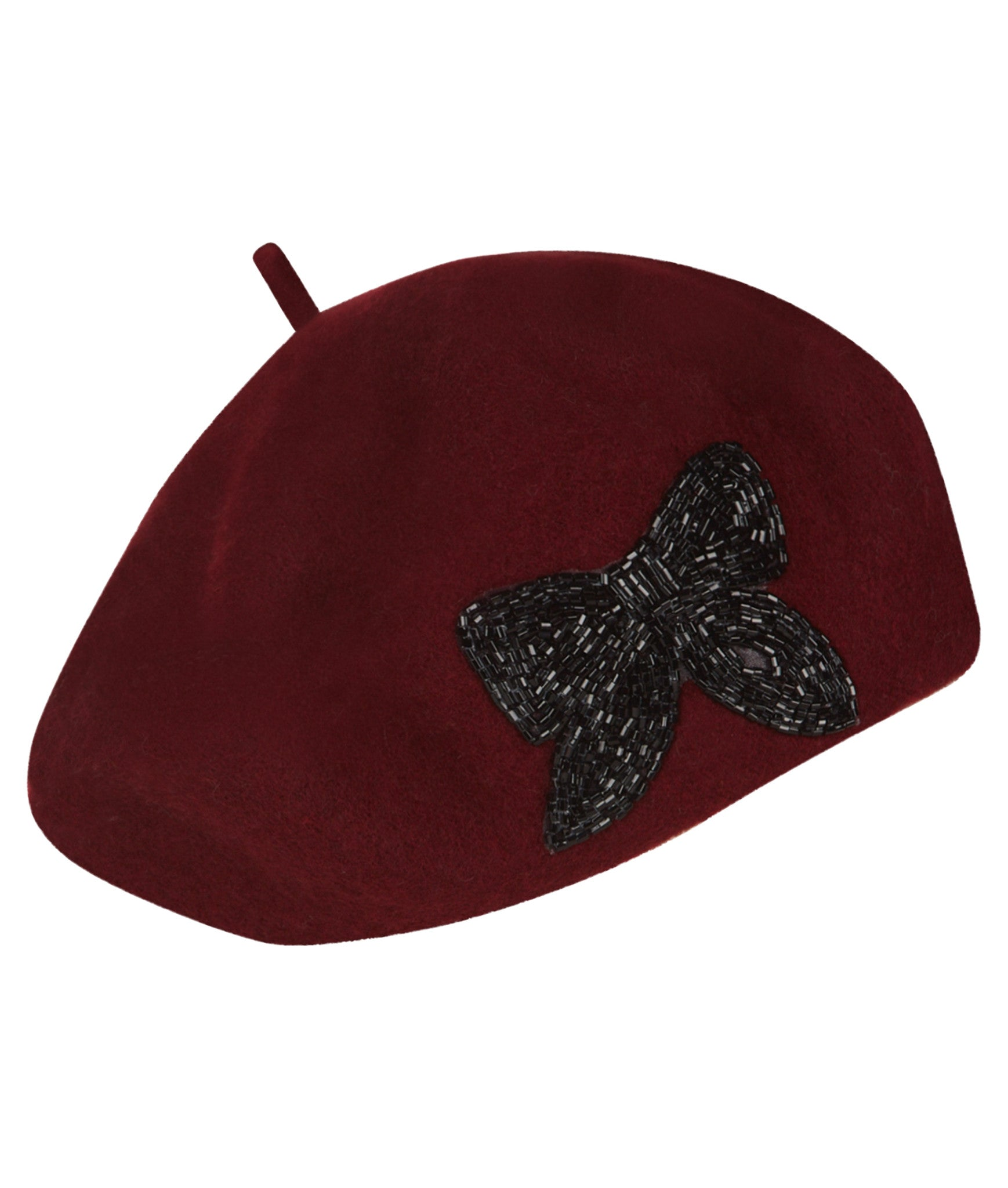 The Beret - Burgundy with Bow