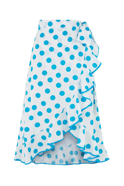 The Carmen Skirt - Turquoise Polkadot