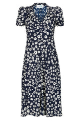The Floral Sweetheart Dress - Navy Daisy
