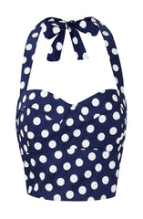 The Polkadot Halter Bodice - Navy