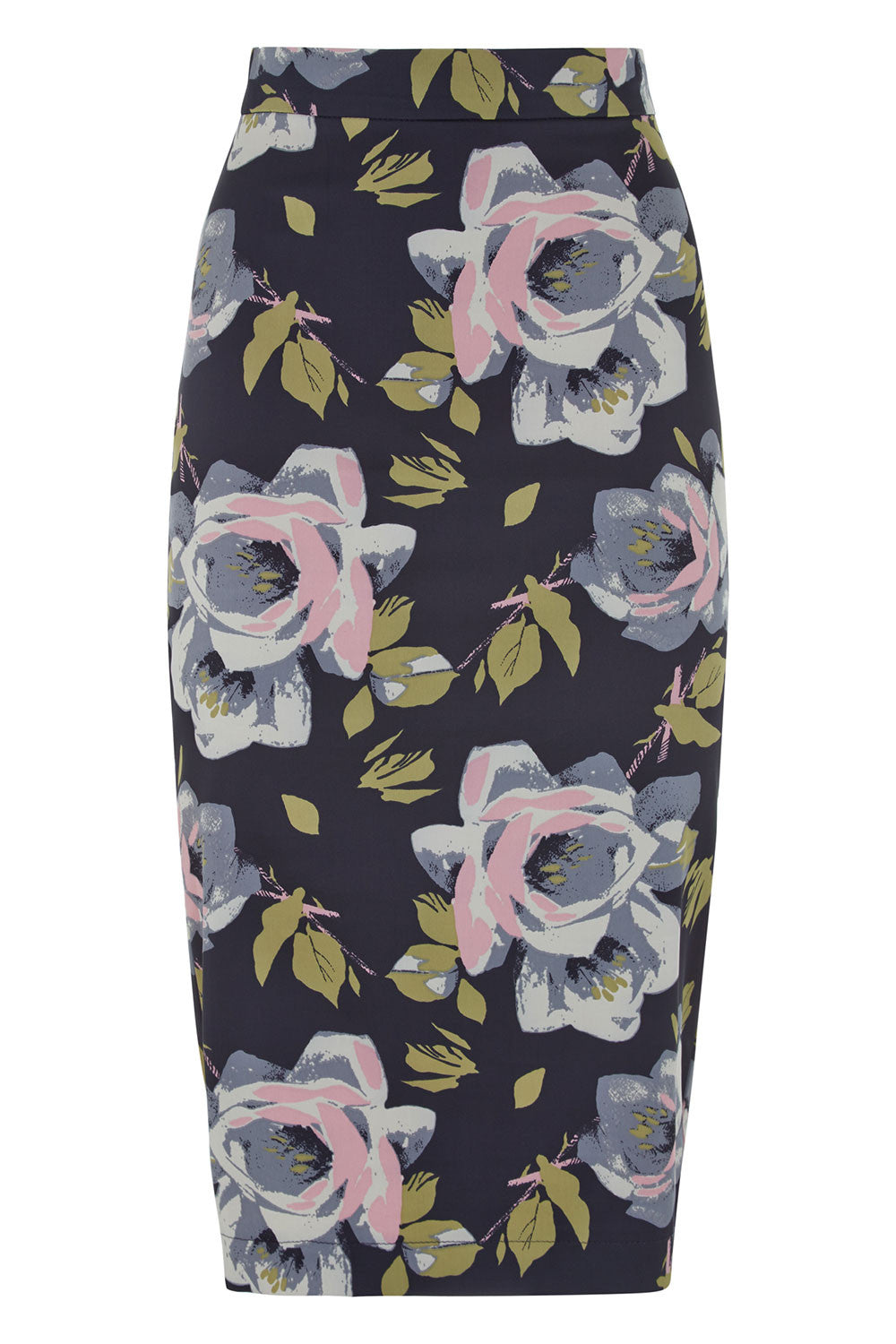 The Wiggle Skirt - Floral Satin