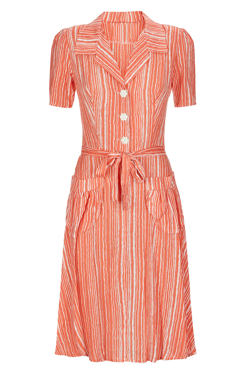 The Homefront Dress - Coral Stripe