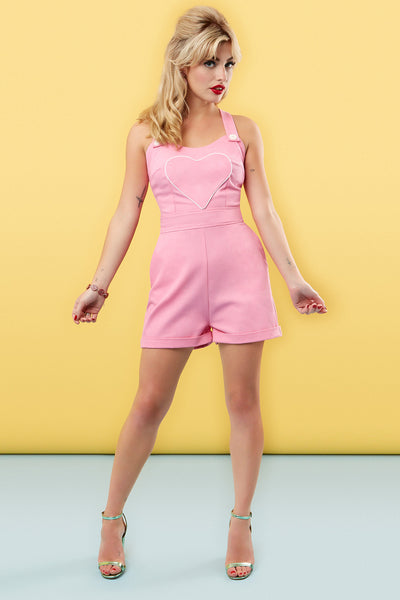The Loveheart Romper - Bubblegum Pink