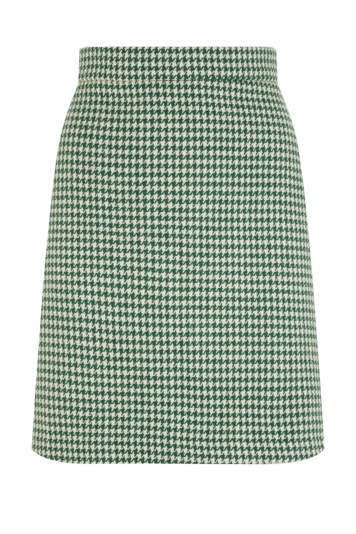 The Mini Skirt - Green Houndstooth