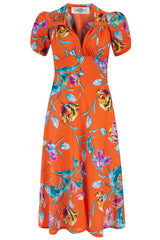 The Floral Sweetheart Dress - Orange and Purple