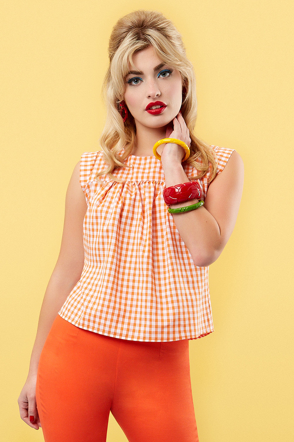 The Smock Top - Orange Gingham