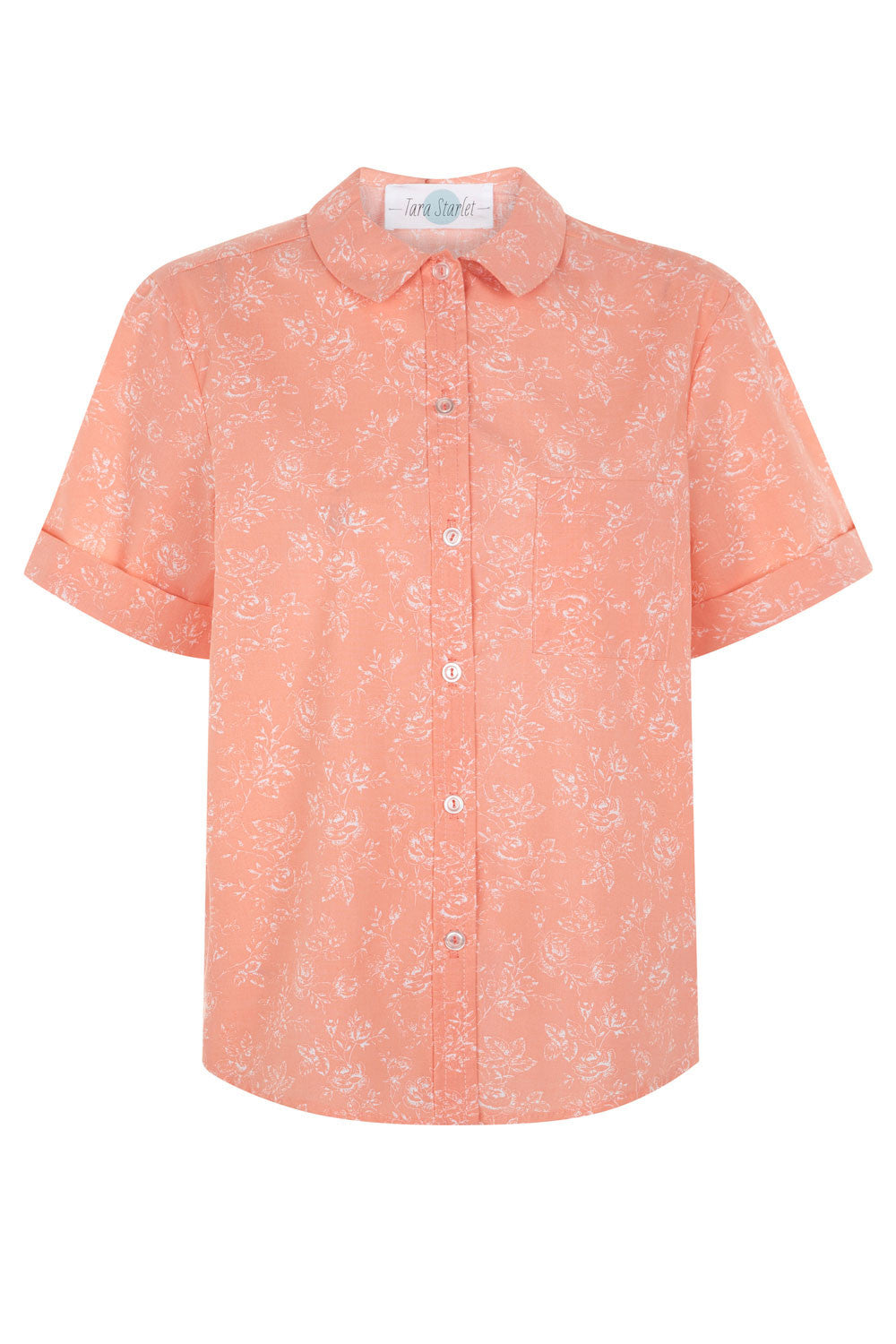 The Floral Audrey Shirt - Peach