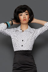 The Jo Shirt - White with Black Spots