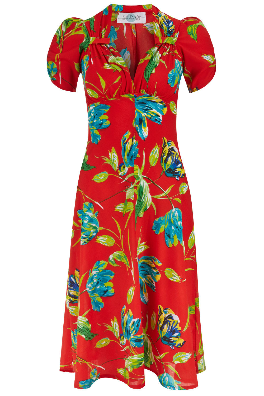 The Floral Sweetheart Dress - Red and Blue