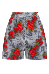 The Printed Shorts - Grey Red Rose