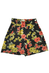 The Printed Shorts - Black Coral Rose