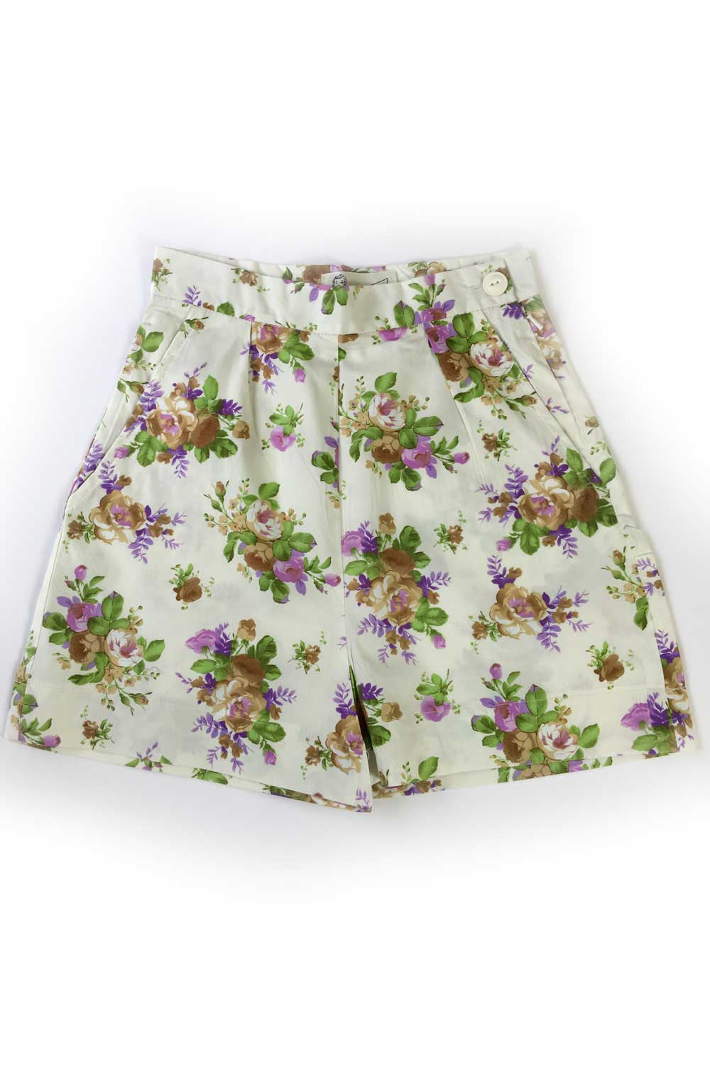 The Printed Shorts - Cream Purple Flowers