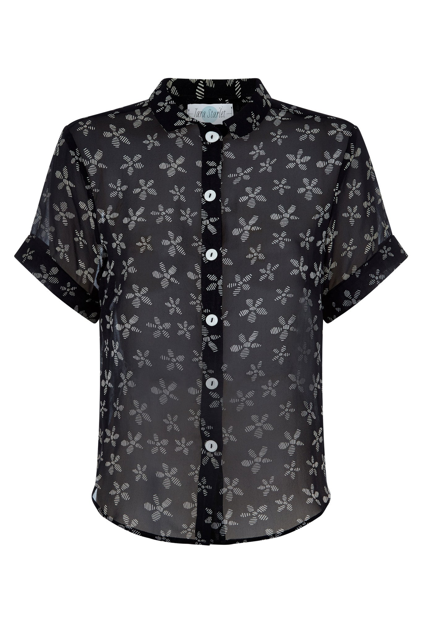 The Sheer Shirt - Black with Flowers