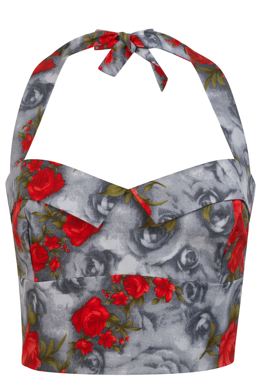 The Halter Bodice - Grey with Red Roses