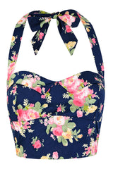 The Halter Bodice - Navy Floral