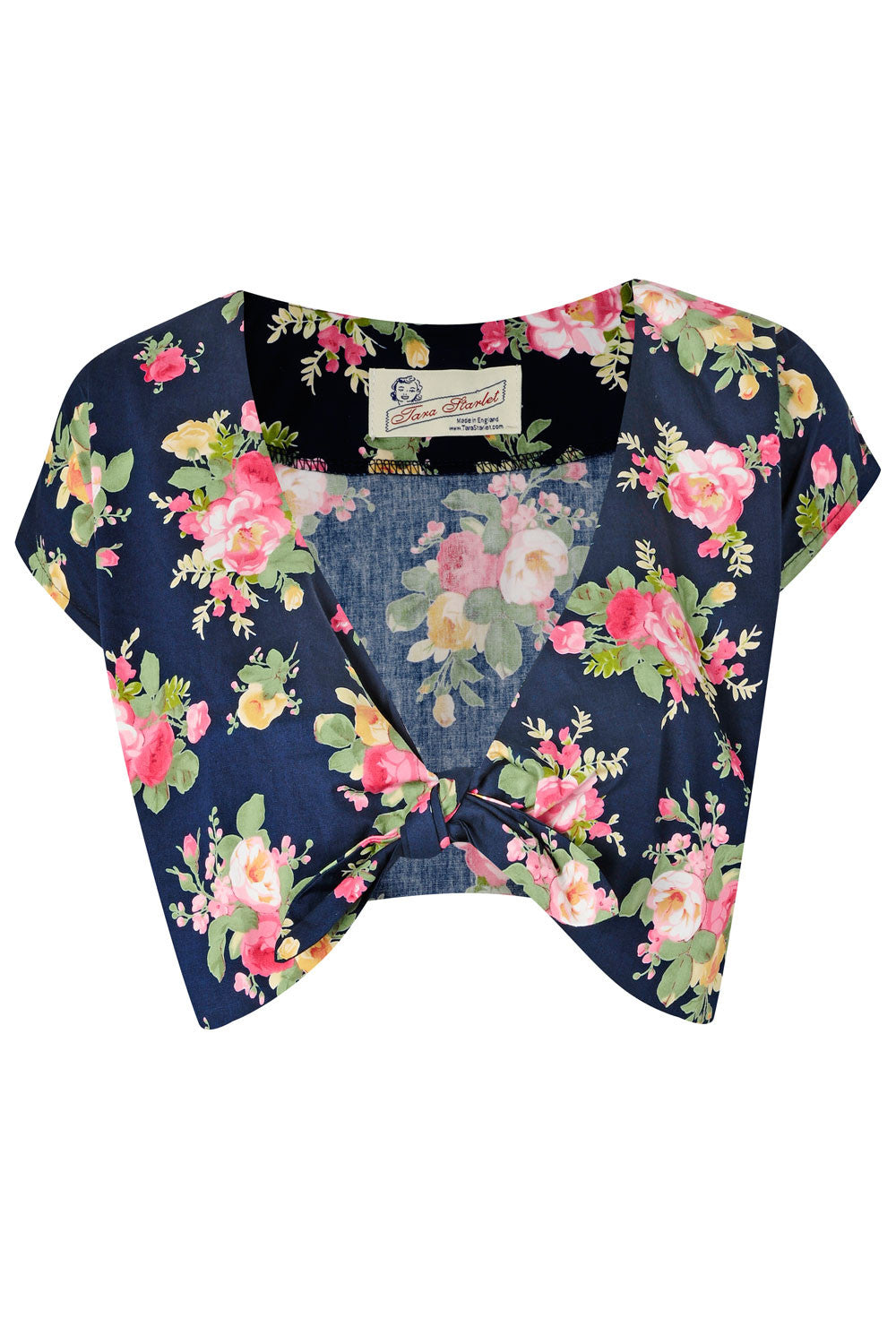 The Floral Knot Top - Navy