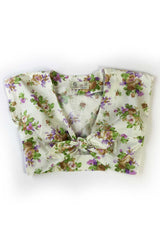 The Floral Knot Top - Cream Purple Flowers