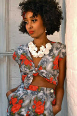 The Floral Knot Top - Grey Red Roses