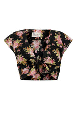 The Floral Knot Top - Black Floral