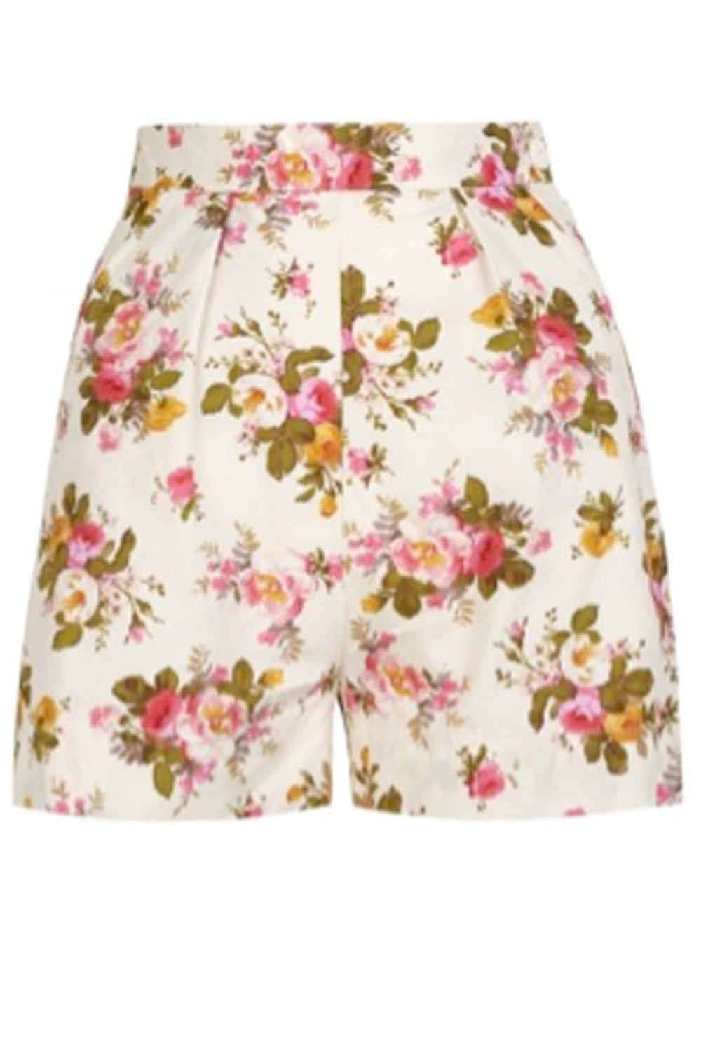The Printed Shorts - Cream Pink Flowers