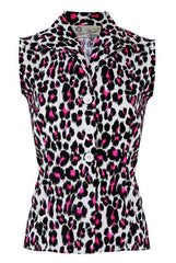 The Sleeveless Shirt - White and Pink Leopard