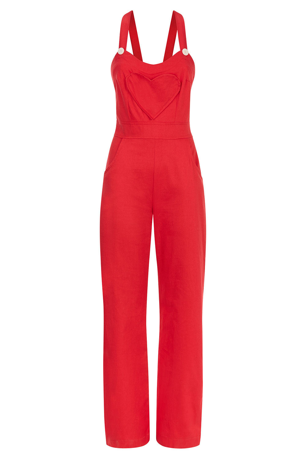 The Loveheart Dungarees - Red