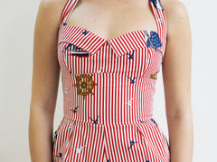 The Nautical Playsuit - Red Stripe